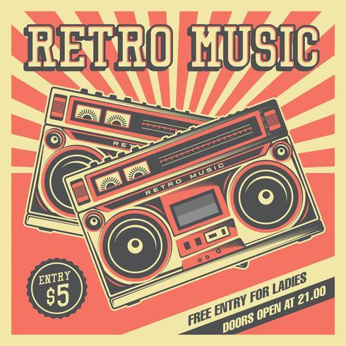 Segnaletica vintage di registratore a nastro musicale retrò vettore
