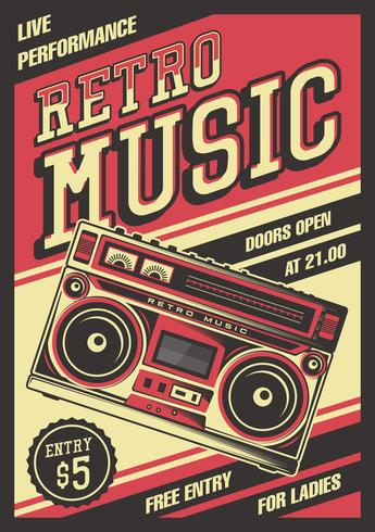 Poster vintage retrò Boombox vettore