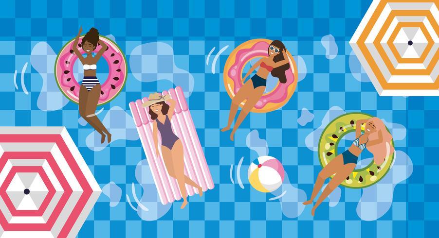 donna che cattura il sole in piscina su floaties vettore
