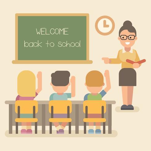 Giovane insegnante che insegna una lezione e bambini che sollevano le mani vettore