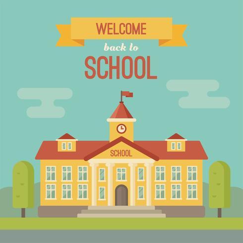 Edificio scolastico e banner con Bentornato a scuola vettore