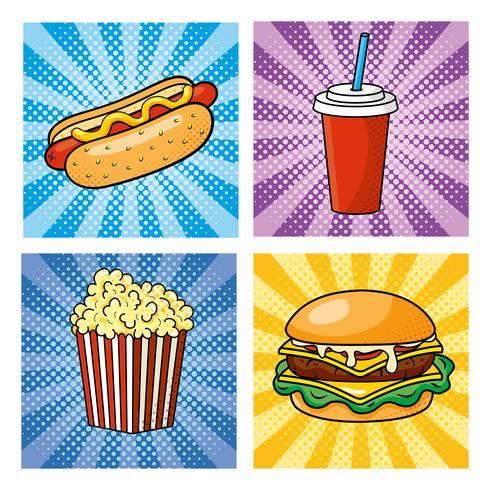 set di fast food pop art con hot dog, soda e hamburger vettore