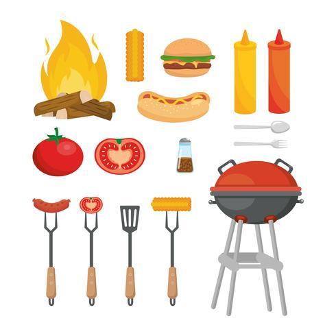 set di snack per picnic con griglia e barbecue vettore