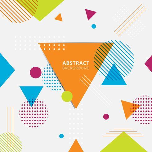 Triangoli geometrici colorati, cerchi, linee e punti su sfondo bianco. vettore