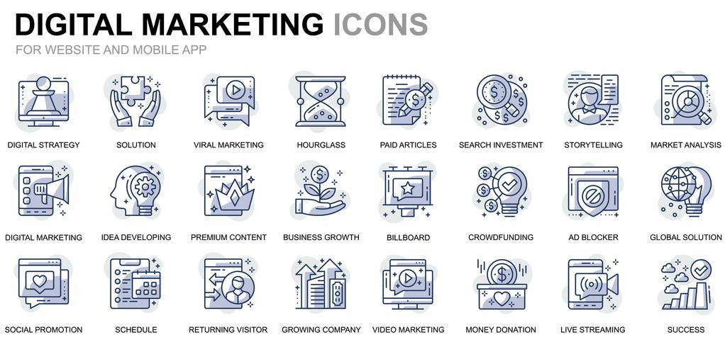 Set semplice di icone di linea di business e marketing per sito Web e applicazioni mobili vettore