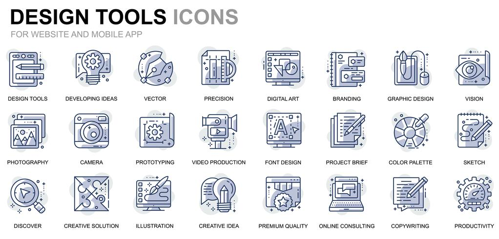 Set di icone di linea di strumenti di progettazione per applicazioni Web e mobile vettore