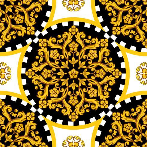 Mandala rotonda ornamemtal dorata con bordo a scacchi vettore