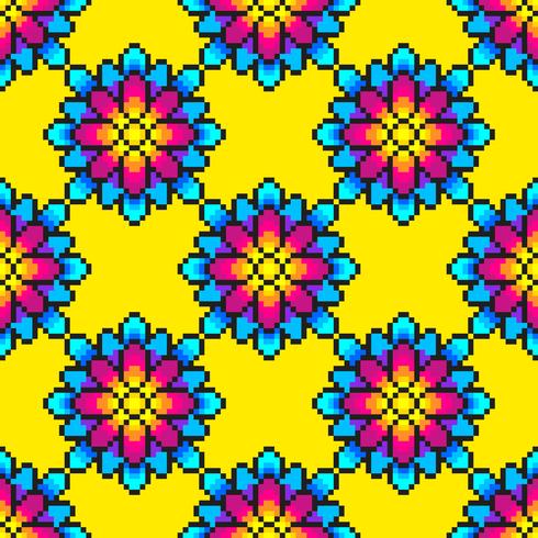 Pixel Art Pattern floreale colorato vettore
