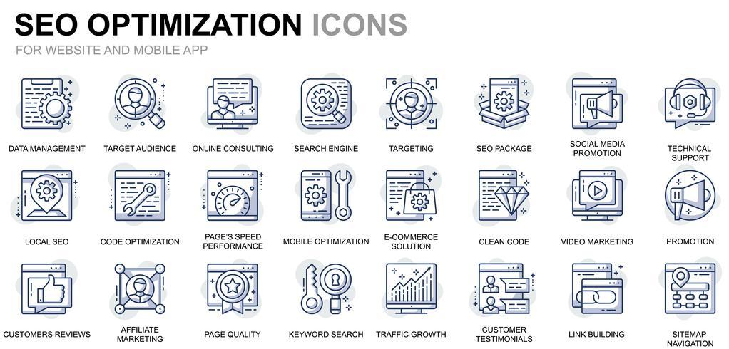 Icone delle linee di ottimizzazione SEO e Web vettore