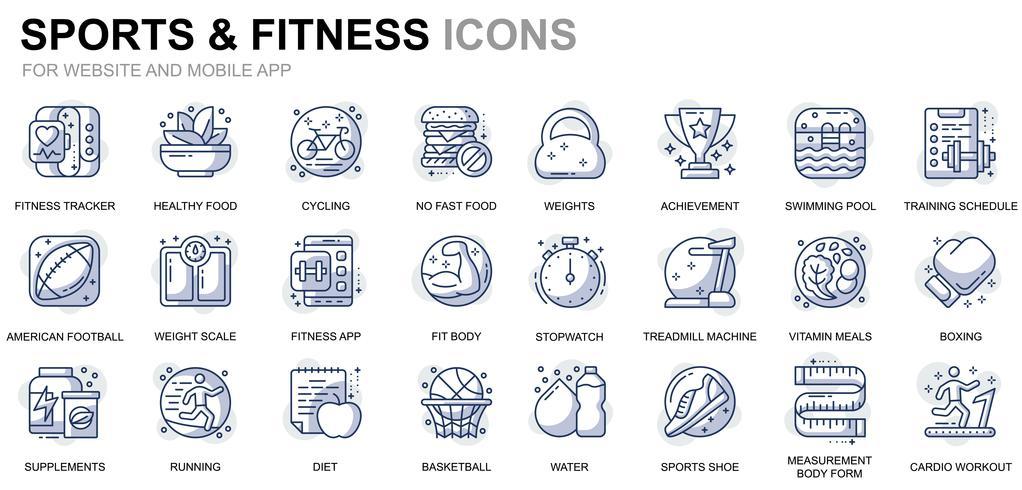 Icone di linea di sport e fitness vettore