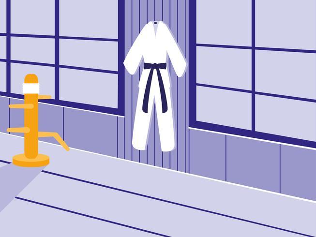 scena di dojo di arti marziali con kimono vettore