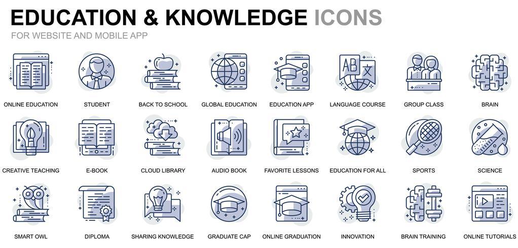 Icone di linea di formazione online vettore