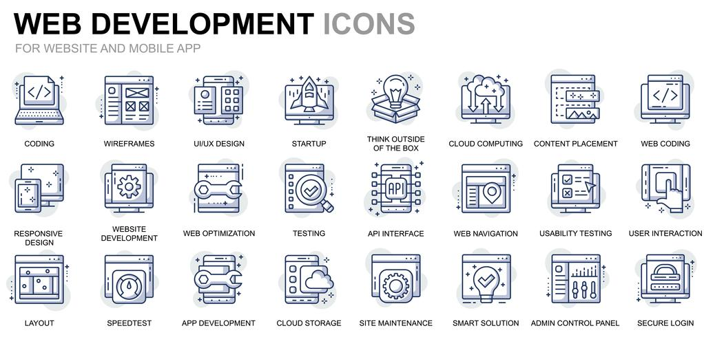 Icone di linea di sviluppo e web design vettore
