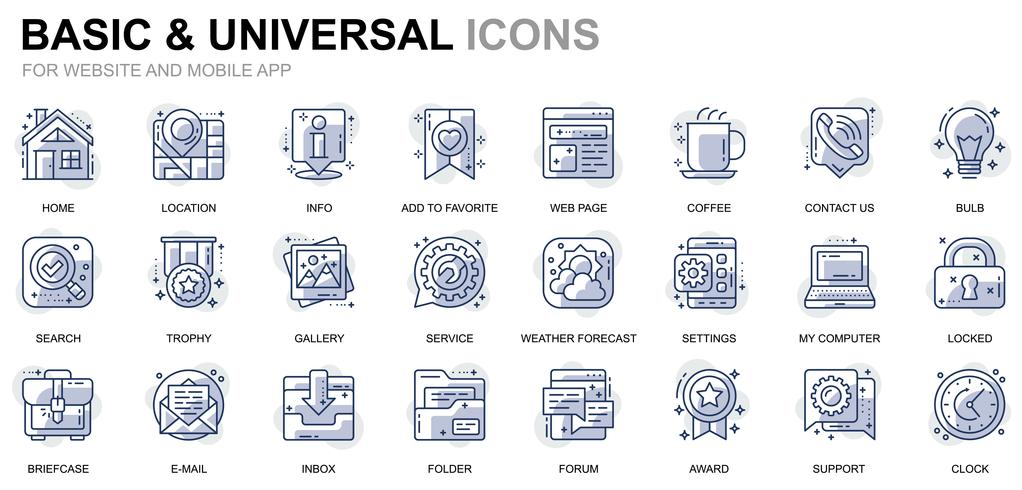 Icone di linea di base e universali vettore