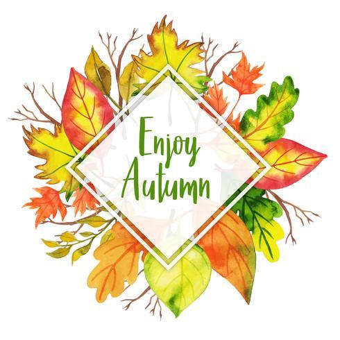 Godetevi l'autunno triangolare bella cornice di foglie d'autunno ad acquerello vettore