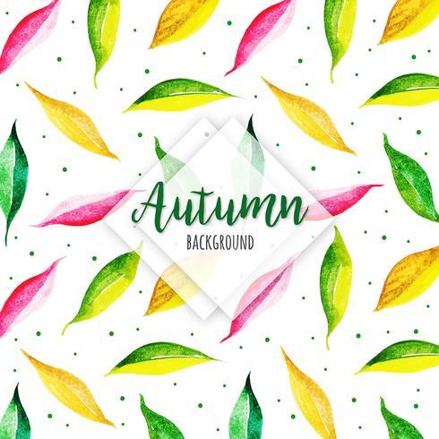 Bella foglia moderna Autumn Leaves Background dell'acquerello vettore