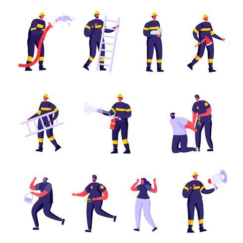 Set di pompieri piatti, poliziotti e vittime vettore