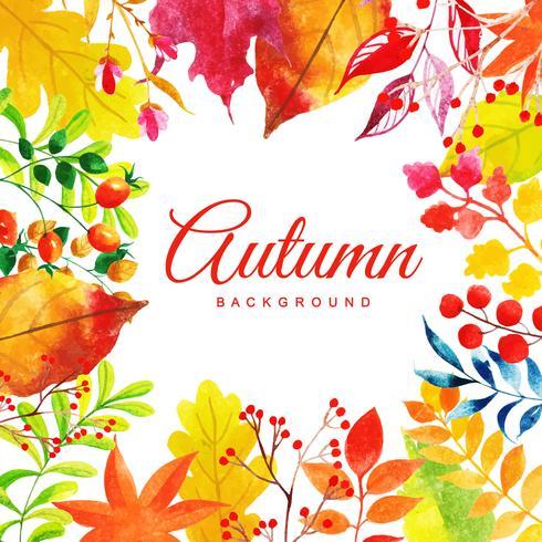 Bello fondo multicolore delle foglie di autunno dell'acquerello vettore