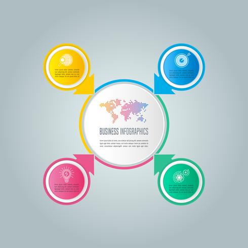 concetto di business design infografico con 4 opzioni, parti o processi. vettore