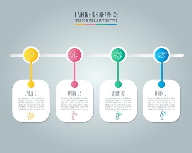 Concept creativo per infografica con 4 opzioni, parti o processi. vettore