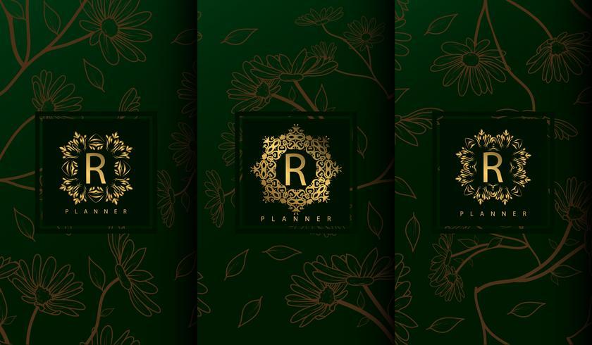 Set di modelli di pacchetto verde di lusso vettore