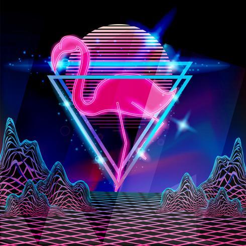 Neon flamingo in stile discoteca anni '80 in stile retrò vettore