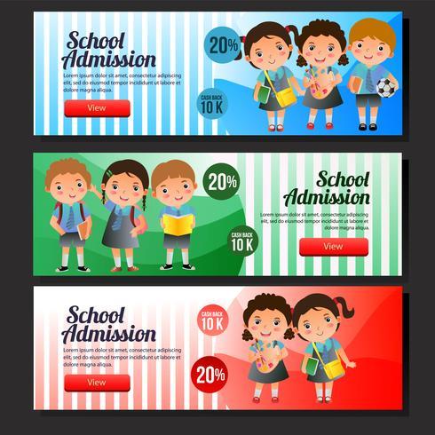 set di banner vendita scuola ammissione colorato vettore
