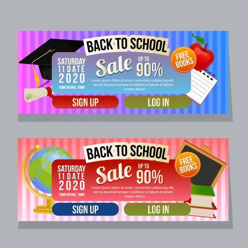 torna a scuola vendita banner orizzontale con articoli scolastici vettore