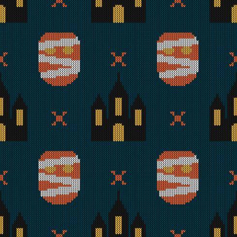Seamless Knitting Texture con mostro e castello vettore
