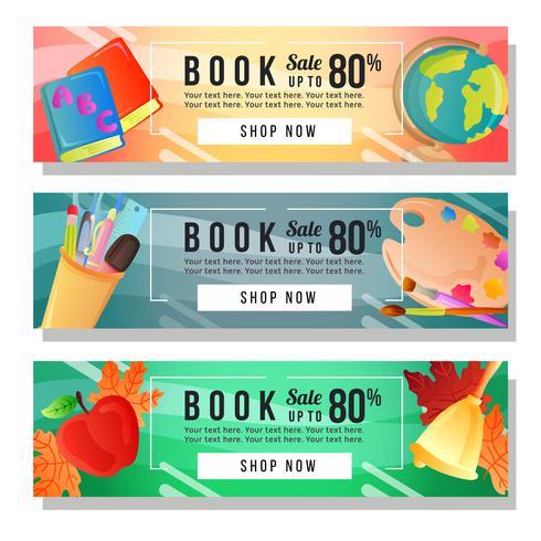 bandiera di vendita del libro con oggetti di scuola vettore