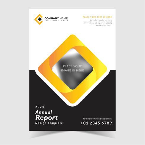 Modello di relazione annuale nero e giallo vettore
