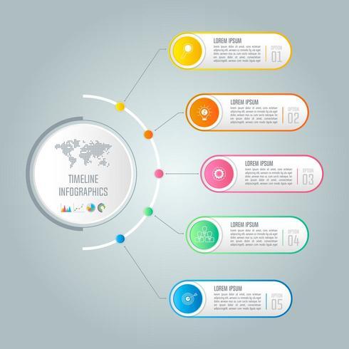 Concept creativo per infografica con 5 opzioni, parti o processi vettore