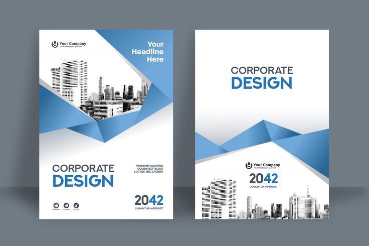 Modello geometrico blu-chiaro di progettazione della copertina del libro di affari del fondo della città vettore