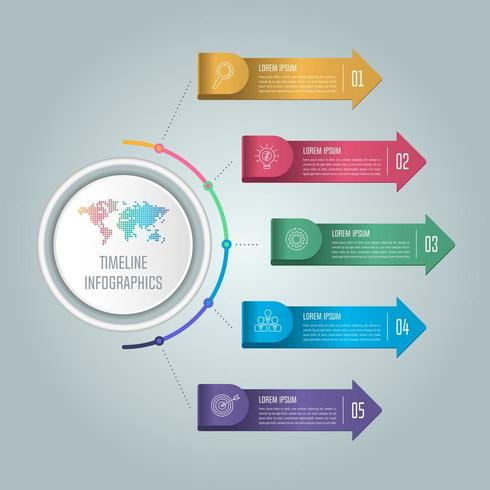 Concept creativo per infografica con 5 opzioni, parti o processi. vettore