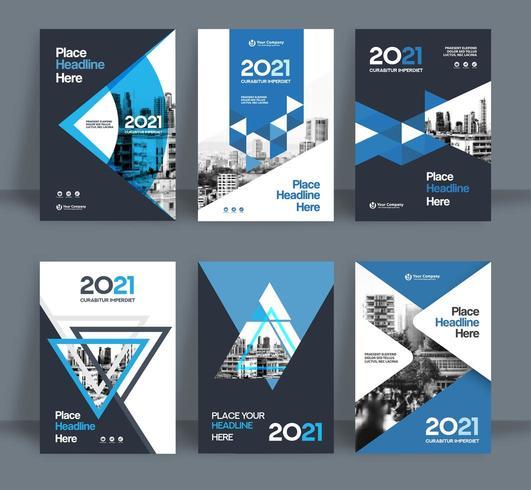 Insieme del modello blu di progettazione della copertina del libro di affari del fondo della città vettore