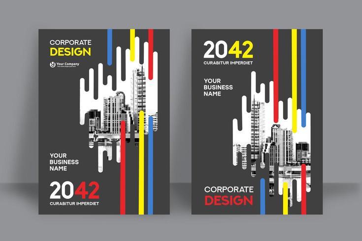 Modello multicolore di progettazione della copertina del libro di affari del fondo della città vettore