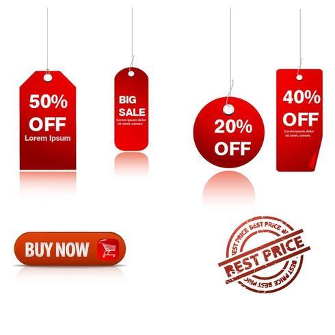 Set di adesivi tag vendita rosso vettore