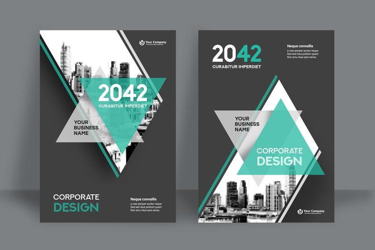 Modello moderno di progettazione della copertina del libro di affari di Teal City Background vettore