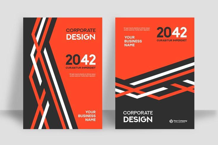 Modello lineare arancio e bianco di progettazione della copertina del libro di affari del fondo della città vettore