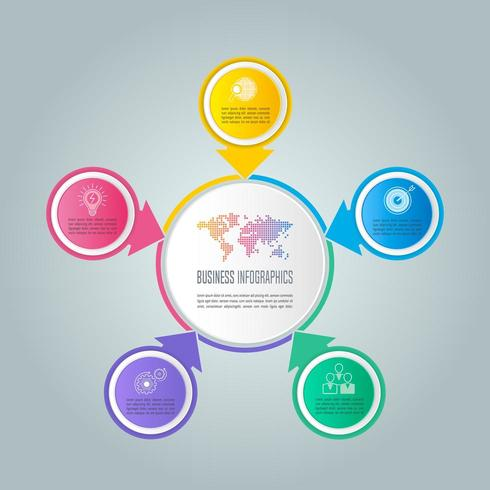 concetto di business design infografico con 5 opzioni, parti o processi. vettore