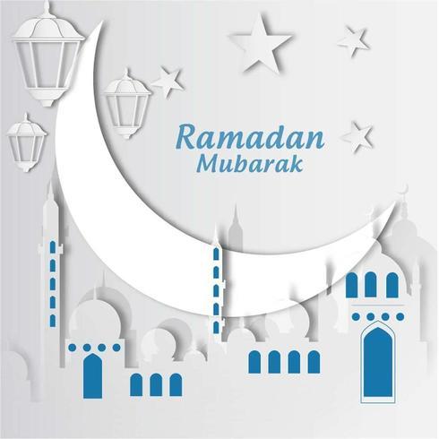 carta ramadan mubarak ritagliata con luna e moschea vettore