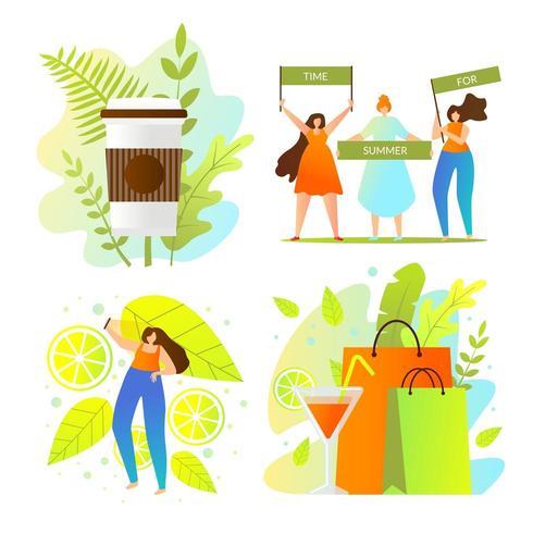 Giornata di shopping estiva colorata vettore