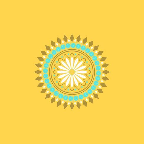 Bella Mandala Art a sfondo giallo vettore