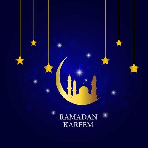Ramadan Kareem con stelle dorate e luna vettore
