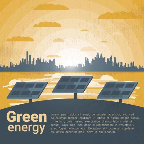 Paesaggio con pannelli solari vettore