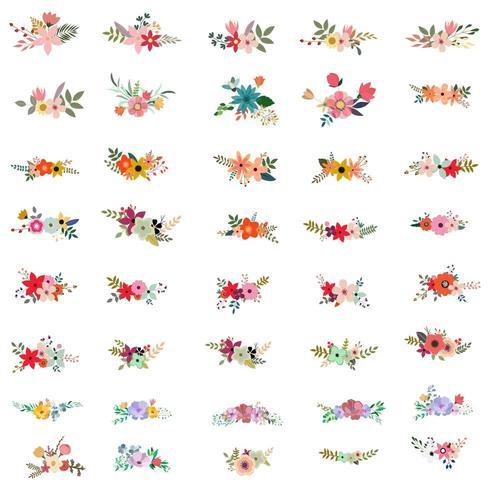 Set di bellissimi bouquet floreali vettore