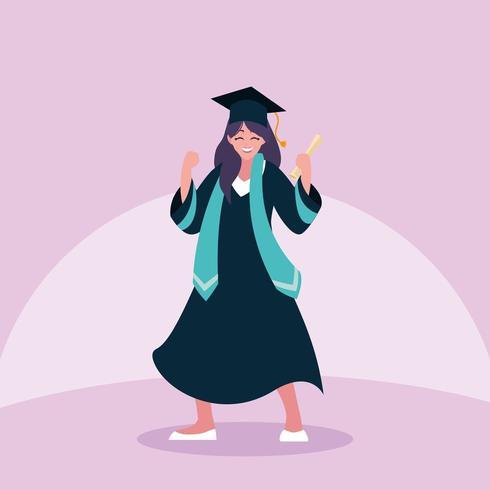 Studentessa di laurea nella celebrazione vettore