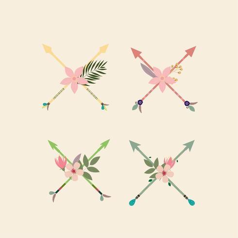 collezione di frecce floreali vettore