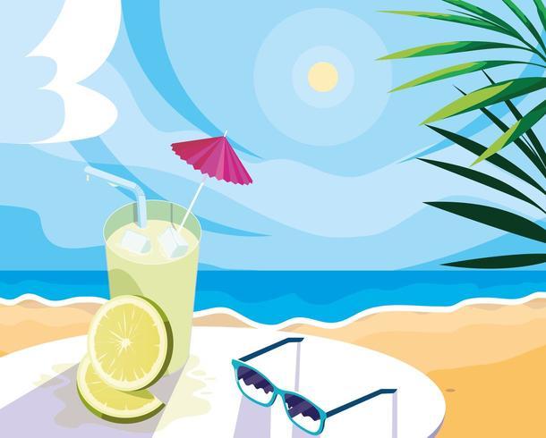 drink al limone sulla spiaggia vettore