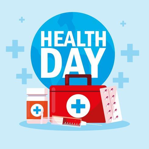 tessera della giornata mondiale della salute con kit di pronto soccorso vettore